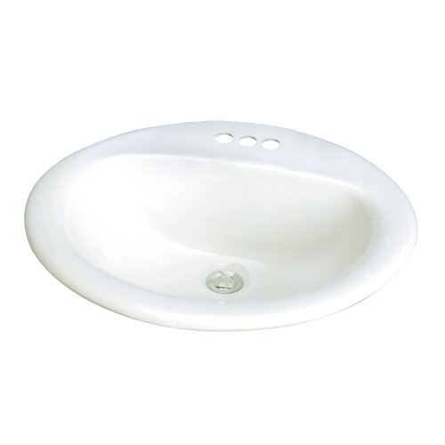 Samson TL-1554-01 Akron Oval Drop-In Vitreous China Lavatory 4-Inch Centers, White