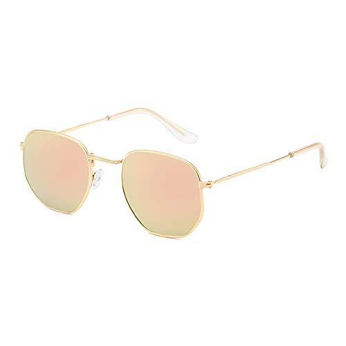YQSBYI Metall quadratische Rahmen Sonnenbrille Herren- und Frauen Retro Reflektierende Gläser Multicolor Klassische Kleine Gesichtsgläser (Lenses Color : Gold Pink)