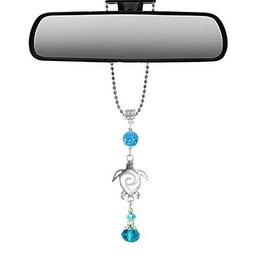 Handmade Bling Assorted Mirror Car Charm Hanger dream catcher Ornament with adjustable chain (Sea Turtle)