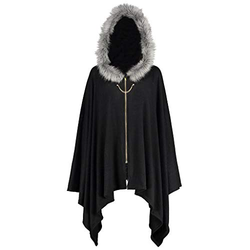 Rovinci_Damen Tops Damen Winter Kapuze Cape Mantel Umhang Poncho Vintage Trenchcoat Wollmantel Warme Wintermantel Outwear Asymmetrisch Saum Retro Gothic Mäntel Wintermantel Jacke Windbreaker Coat
