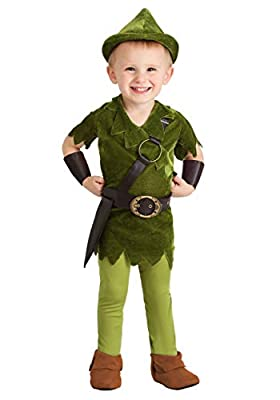 Toddler Peter Pan Costume with Hat, Shirt, Tights, Belt/Harness and Wrist Cuffs X-Small Green