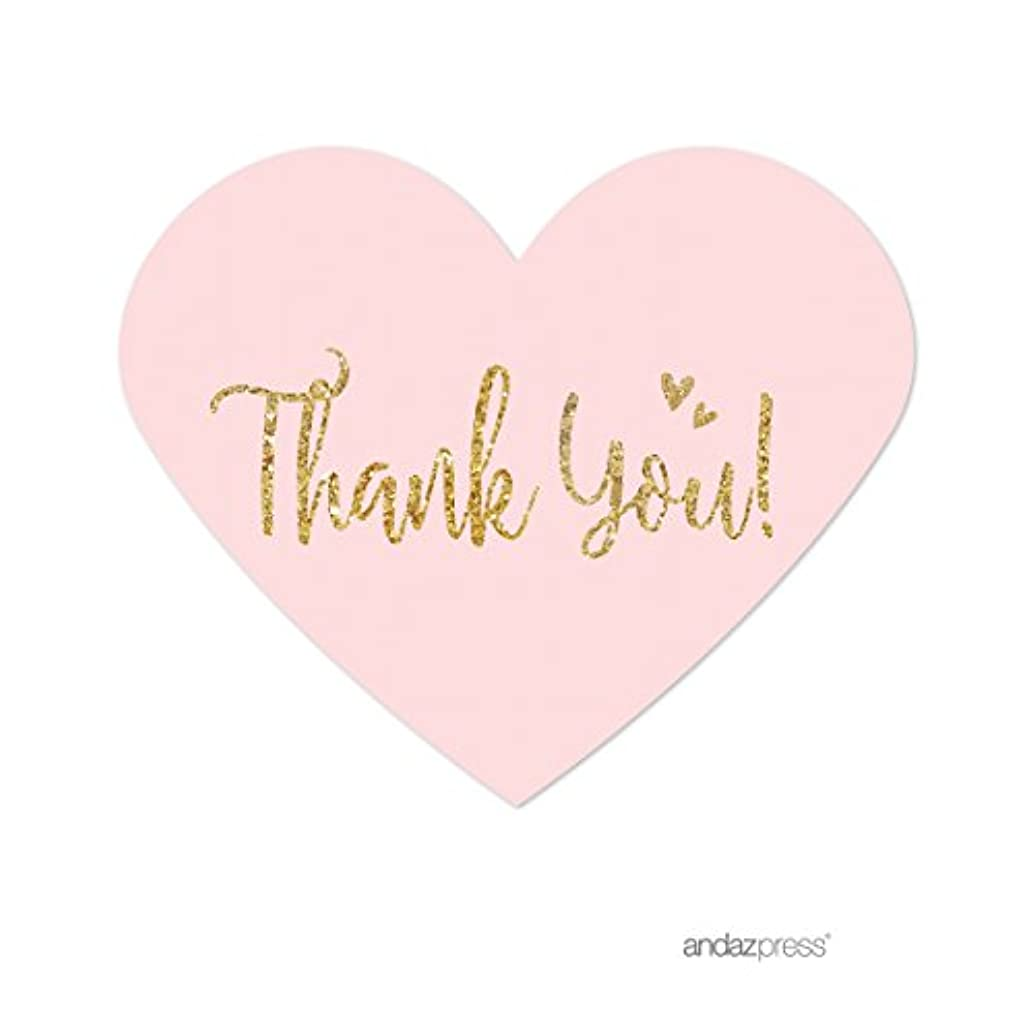Andaz Press Blush Pink Gold Glitter Print Wedding Collection, Mini Heart Label Stickers, Thank You, 75-Pack