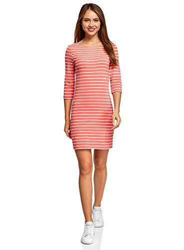oodji Ultra Damen Baumwoll-Kleid Basic, Rot, DE 38 / EU 40 / M