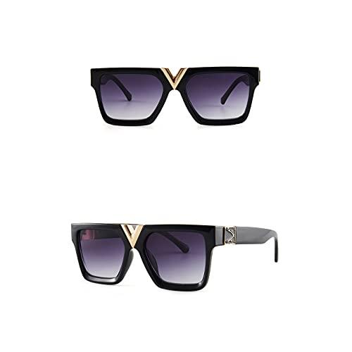 QIXIAO Gafas de Sol de Moda para Mujeres y Hombres de Moda, Gafas de Sol, Lente Cuadrada UV400 (Color : W7, Size : 64mm)