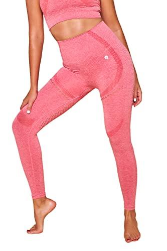 Red Cheri Leggings para mujer - Pantalones de yoga con efecto de malla para transpiración transpirable para correr de gimnasio de tecnología sin costuras de cintura alta M ROSA