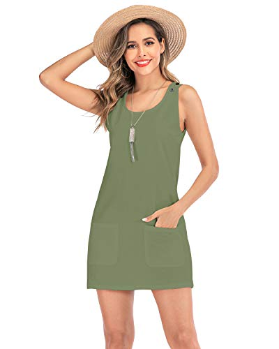 AUDATE Damen Sommer Kleid Strandkleid Leinen Mini Kleid Freizeitkleid Ärmellos Longshirt T Shirt Kleid Tank Kurz Armee grün 2XL