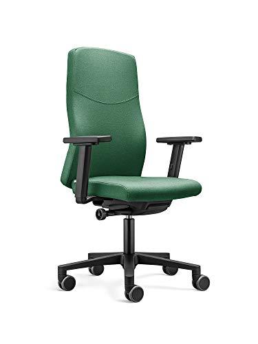 Ergonomischer Bürostuhl / Drehstuhl BASIC mit verstellbarer Sitzhöhe, anpassbaren Armlehnen, Rückenlehne mit Gewichtsautomatik (Grün)