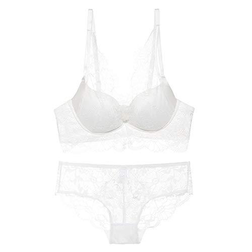 Cwang Sujetador Diario cómodo de algodón para Mujer,Blanco,36/80AB