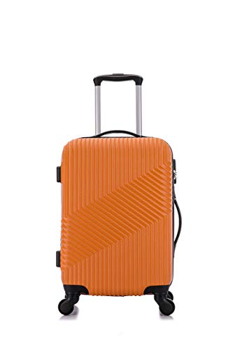 Flymax 55x35x20 4 Wheel Super Lightweight Cabin Luggage Suitcase Hand Carry on Flight Travel Bags Approved On Board Fits Flybe Easyjet Ryanair Jet 2 BA Orange