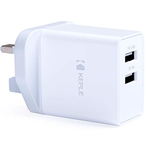Keple Mains USB Wall Charger Dual 2 Port Fast Charging UK Plug Compatible with Samsung Galaxy Tab S6 A 10.1 S5e 8.0 S4 10.5 7.0 S E 9.6 View2 S3 9.7 S2 3 V Advanced2 Active 2 J Lite, 17W 3.4A Adapter