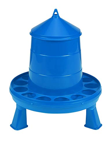 Poultry Feeder with Legs (Blue) - Durable Feeding Container with Carrying Handle for Chickens & Birds (4 Lb) (Item No. DT9871)