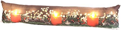 infactory LED-Dekokissen: Zugluftstopper-Deko-Kissen mit Kerzen-Motiv, 3 LEDs, 90 x 20 cm (Fensterbankkissen)