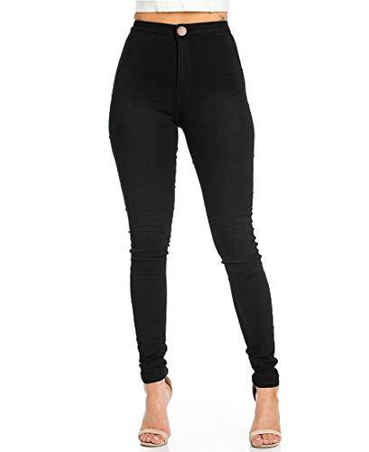 JYONE Jeans Damen, Skinny Jeans Damen High Waist Slim Leggings Röhrenjeans Bleistifthose Bleistift Hose-Schwarz-M