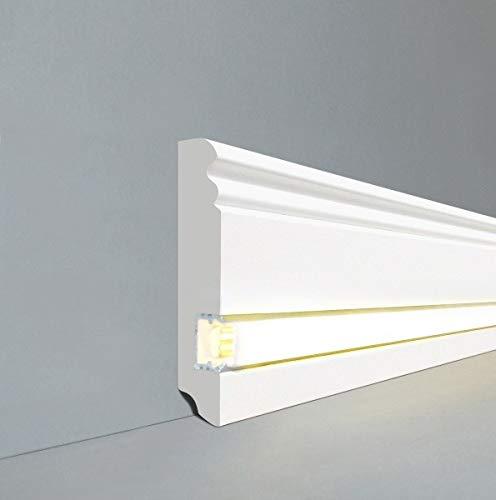 LEDLicht Fuß- u. SockelleistenWiesbaden Berliner Profil 96 x 19 mm MDF foliert 719.096L | LED Sockelleiste | Lichtleiste | Profisockelleisten |Inklusive weißer Abdeckung| Weiß