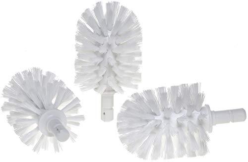 KEUCO Ersatz Toiletten-Bürstenkopf, austauschbar, im 3er Set lose, 12,7x6,7cm, weiß, Original Hersteller, WC-Bürste Ersatzbürstenkopf