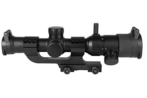 Monstrum 1-4x20 Rifle Scope with Offset Cantilever Scope Mount and Flip Up Lens Covers   Black