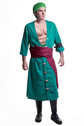 DAZCOS US Size Adult Roronoa Zoro 2nd Cosplay Costume (Men L) Green