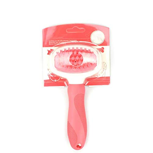 Pet Bath Massage Brush Soft Rubber Bristles Gently Removes Loose Shampoo Shedding Brush for Dogs - Pink