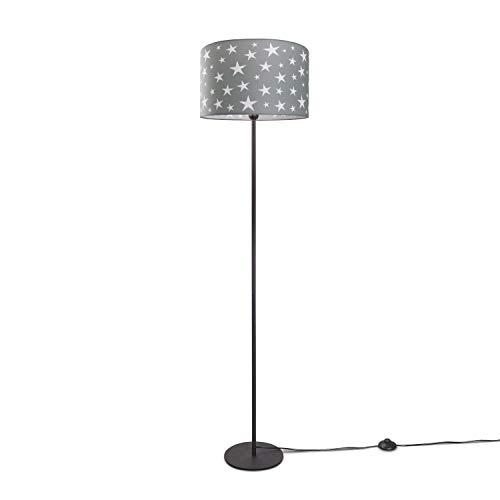 Kinderlampe Stehlampe LED Kinderzimmer, Sternen-Motiv, Deko Stehleuchte E27, Lampenfuß:Einbeinig Schwarz + Leuchtmittel, Lampenschirm:Taupe (Ø38 cm)