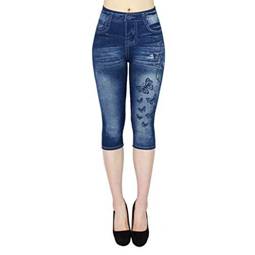 VOWUA Jean Leggings for Women Plus Size High Waisted Capri Cropped Leggings Denim Stretch Jean Look Jeggings Tights
