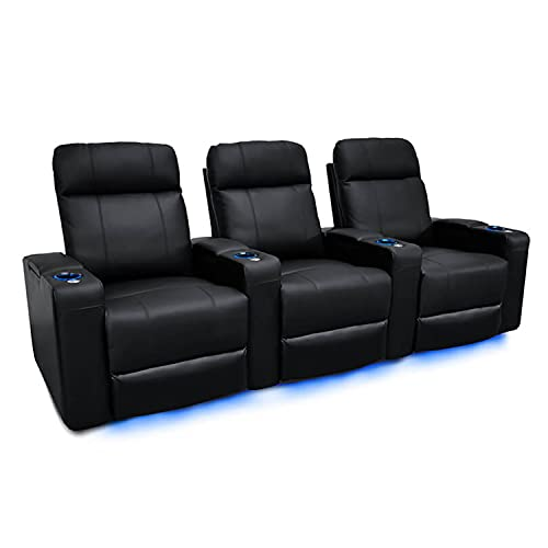 Valencia Piacenza Home Theater Seating | Premium Top Grain Nappa 9000 Leather, Power Recliner, LED Lighting (Row of 3, Black)