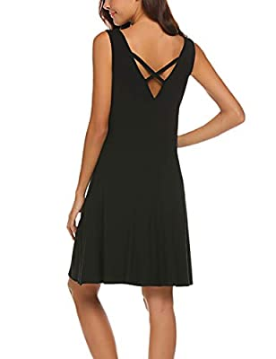 LuckyMore Women's V Neck Sleeveless Criss Cross Back Pockets Casual Loose T-Shirt Dress S-3XL