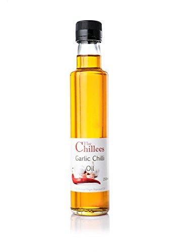 The Chillees Olio piccante e all'aglio 1 bottiglia da 250 ml Ideale per gli amanti del cibo piccante Prodotto naturale senza conservanti Per i tuoi piatti, pizze, insalate e altro
