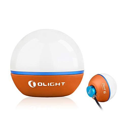 Olight Obulb 55 Lumens 4-Mode Orb Light Night Lights MCC Rechargeable Bedside Lamp with Magnetic Bottom for Home Decor, Nursery, Camping, Hiking( Orange)
