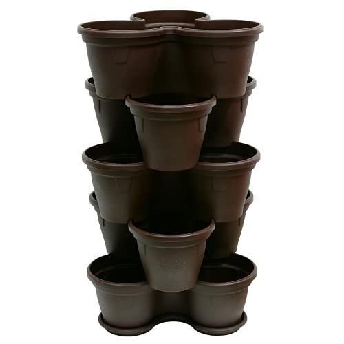 Engelland 5X Blumentopf Säulentopf Pflanzturm Hochbeet Pflanztopf-Kübel mit Untersetzer stapelbar bruchfest widerstandsfähig farbig Kunststoff