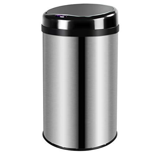 Display4top Abfalleimer mit Sensor Mülleimer, Küche Toilette Badezimmer geruchssicherer Abfalleimer, in Edelstahl-Optik (30LRound)