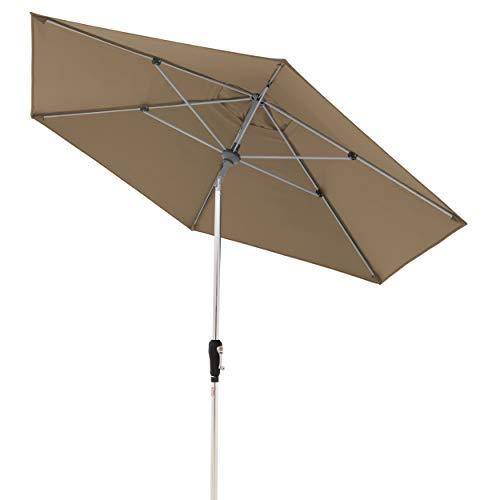Doppler Aluminium Sonnenschirm SL-AZ 275 – Knickbarer Sonnenschutz für Balkon oder Terrasse – Regenabweisend – 275 cm – Greige-Taupe