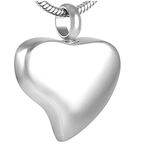 Ysain Urna Collar Cenizas Collar De Urna De Cremación En Forma De Corazón De Acero Inoxidable 316L En Blanco Grabable Gratis, Colgante De Cenizas De Recuerdo para Mujer, Joyería