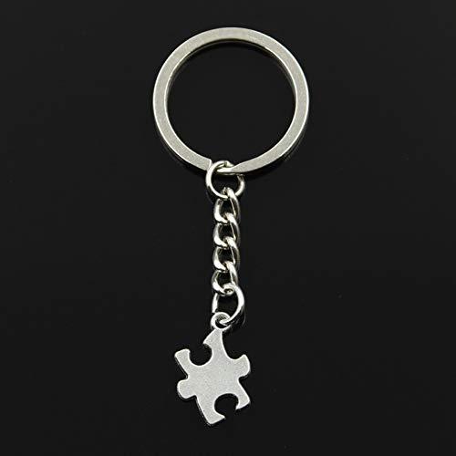 N/ A Mode 30 mm sleutelhanger van metaal sleutelhanger sieraden antiek zilver puzzel Autismus 20 x 14 mm hanger