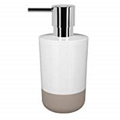 Spirella Seifenspender Moji Flüssigseifen-Spender mit Silikon gegen verrutschen, Fassungsvermögen 7,5 x 7,5 x 16,5 cm - Weiß/Taupe