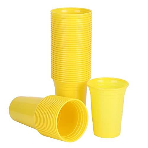 Conkergo 50pcs 450ml Partido desechable Copa de plástico Party Suministros de Juego para Fiestas de Barras Jugando Juegos (Todo Amarillo 450ml)