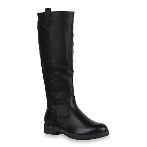 Damen Reiterstiefel Leicht Gefütterte Stiefel Leder-Optik Schuhe 150623 Schwarz 37 Flandell