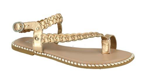 Bullboxer Damskie sandały 315007I1L, damskie sandały z rzemykami, buty letnie, płaskie, - Różowe złoto - 36 EU