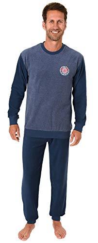 Langer Herren Frottee Pyjama, Schlafanzug mit Bündchen - 291 101 13 574, Größe2:56, Farbe:blau-Melange