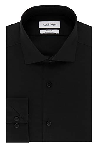 "Calvin Klein Men's Dress Shirt Slim Fit Non Iron Stretch Solid, Jet Black, 14"" Neck 32""-33"" Sleeve (Small)"