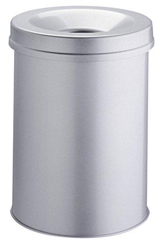 Durable 330610 Papierkorb Safe rund, selbstlöschender Deckel, 30 Liter, grau