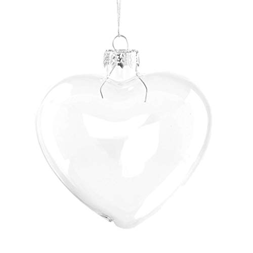 Succulent Style 6 X Clear Heart Shape Glass Baubles Ornaments for Christmas or Wedding decorations