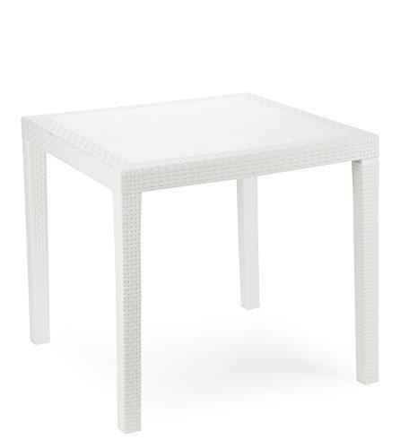 Kunststoff Gartentisch King weiß in Rattan Optik, 80 x 80 cm, von IPAE  Progarden, Made IN Europe