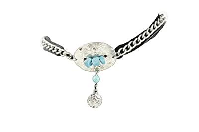 Trendy Fashion Jewelry TFJ Women Boot Bracelet Western Silver Metal Chain Bling Shoe Charm Turquoise Blue Beads
