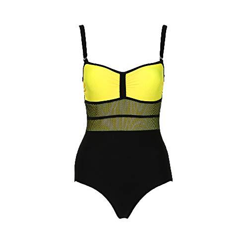ESAILQ Damen Einteiler Monokini Push Up Gepolsterter BH Bikini Badeanzug Bademode Baden(Large,Gelb)