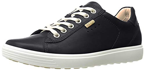 ECCO womens Soft 7 Long Lace Fashion Sneaker, Black, 6-6.5 US
