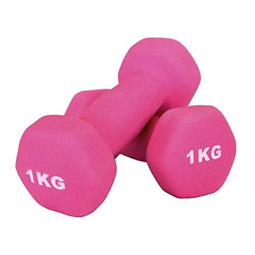 Goutime Mancuerna De Neopreno para Ejercicios De Yoga Fitness,Pesas Antideslizantes para Hombres Y Mujeres En El Hogar(Conjunto De 2) (Rosado, 1KG)