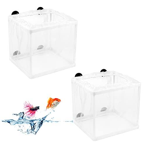 Tinyriz 2Pcs Caja de Cría de Peces, Acuario Criador de Peces, Incubadora de Peces de Acuario, Caja de Aislamiento de Peces con Ventosas, Red de Cría de Peces para Proteger Peces Bebés