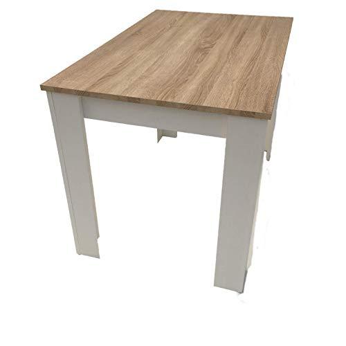 Möbel SD Esstisch Sonoma Eiche hell Sägerau weiß Massivholzoptik Kante 110x70
