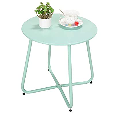 Grand patio Premium Indoor/Outdoor Round Metal Weather-Resistant Side/Accent Table for Patio, Yard, Balcony, Garden (Mint Green)