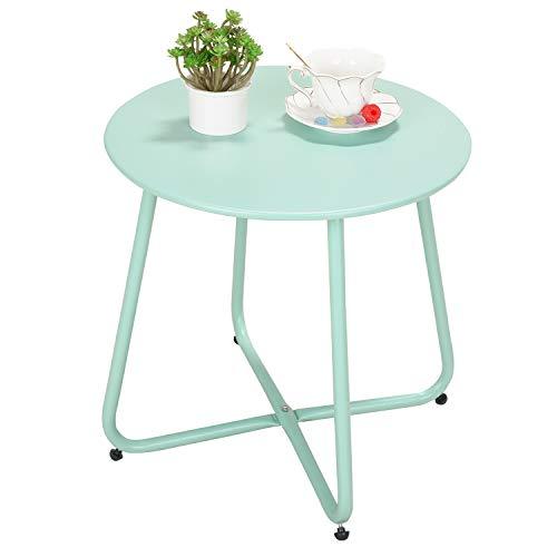 Grand patio Premium Indoor/Outdoor Round Metal Weather-Resistant Side/Accent Table for Patio, Yard, Balcony, Garden (Mint Green)